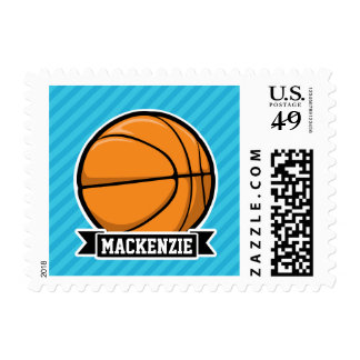 Basketball on Sky Blue Stripes Postage Stamps
