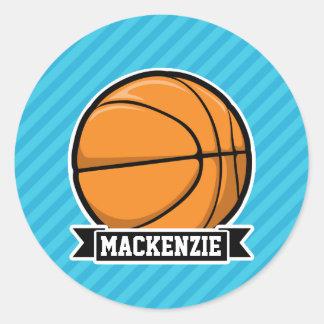 Basketball on Sky Blue Stripes Stickers