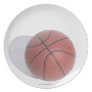 Basketball on white background plate
