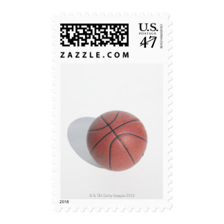 Basketball on white background postage stamp