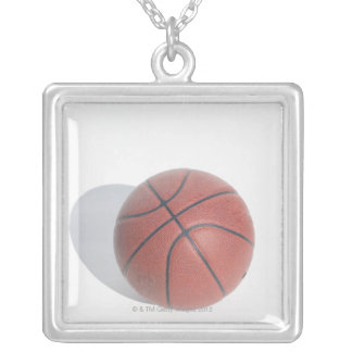 Basketball on white background silver plated necklace
