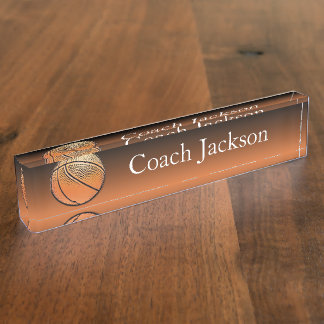 Basketball orange black fade desk nameplate
