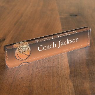 Basketball orange black fade desk nameplate