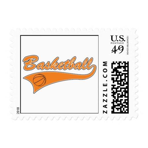 basketball orange text logo postage stamps