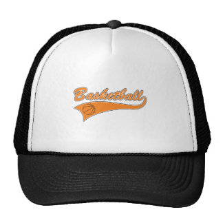 basketball orange text logo trucker hat