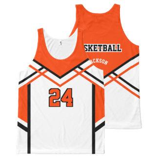 Basketball - Orange, White & Black All-Over Print Tank Top