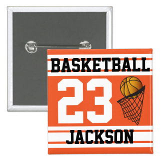 Basketball Orange & White Stripes | DIY Text 2 Inch Square Button