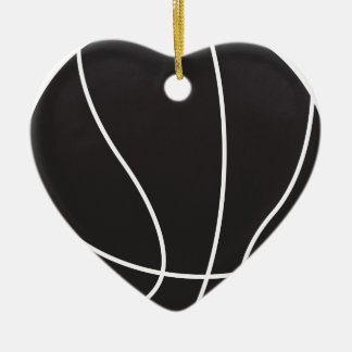 Basketball Double-Sided Heart Ceramic Christmas Ornament