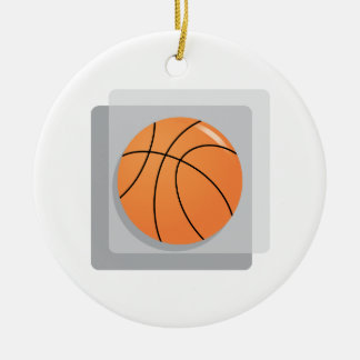 Basketball Double-Sided Ceramic Round Christmas Ornament