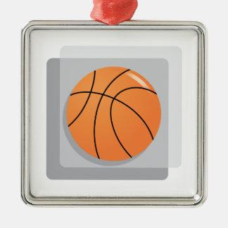 Basketball Square Metal Christmas Ornament