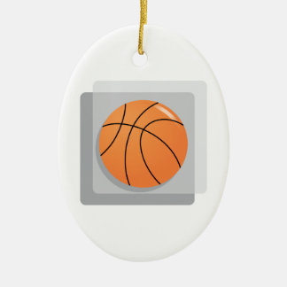 Basketball Double-Sided Oval Ceramic Christmas Ornament