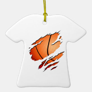 Basketball Double-Sided T-Shirt Ceramic Christmas Ornament