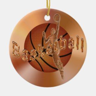Basketball Ornaments. Vintage Basketball & Player