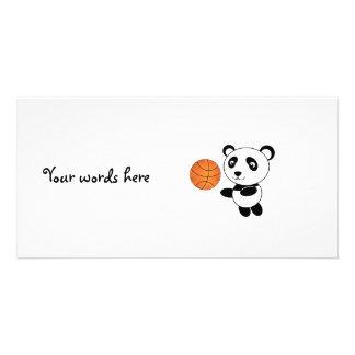 Basketball panda custom photo card