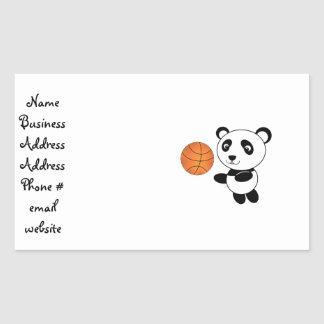 Basketball panda rectangular stickers