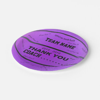 BASKETBALL PAPER PLATES Purple bl
