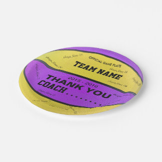 BASKETBALL PAPER PLATES Purple Yellow bl