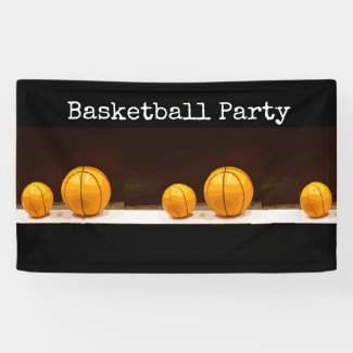 Basketball Party Banner are on black background