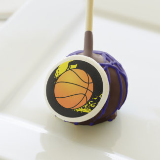 Basketball Party Cake Pops-Purple drizzle Cake Pops