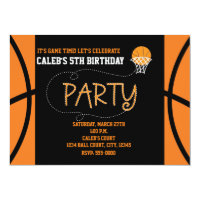 BASKETBALL PARTY Typography Birthday Invitation