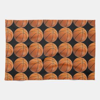 Basketball Pattern on Black Kitchen Towel
