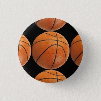 Basketball Pattern on Black Pinback Button
