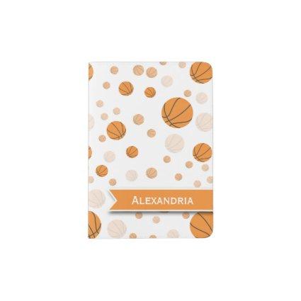 Basketball Pattern on White Passport Holder