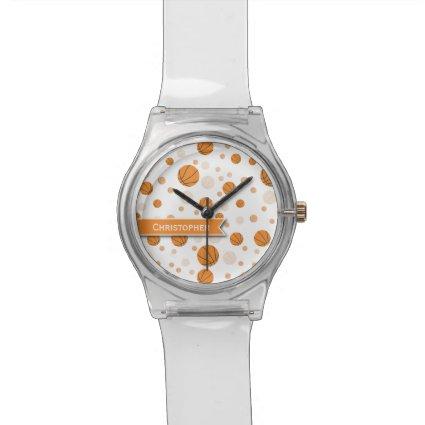 Basketball Pattern on White Wrist Watch