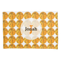 Basketball Pattern Personalized Unique Kids Orange Pillow Case