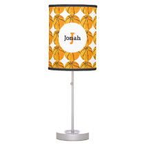 Basketball Pattern Sports Retro Kids Personalized Table Lamp