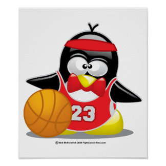 Basketball Penguin Poster