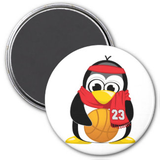 Basketball Penguin Scarf 3 Inch Round Magnet