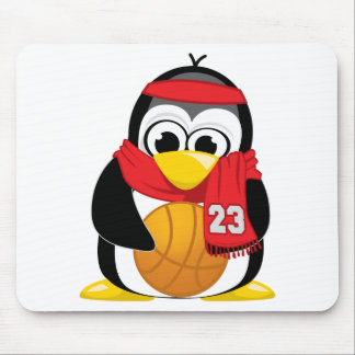 Basketball Penguin Scarf Mouse Pad