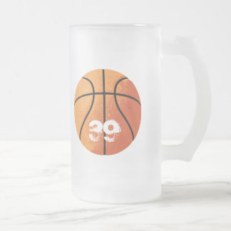 Basketball (Personalizable) Frosted Glass Beer Mug
