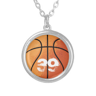 Basketball (Personalizable) Silver Plated Necklace