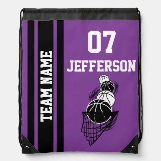 Basketball Personalize Team | Purple Drawstring Backpack