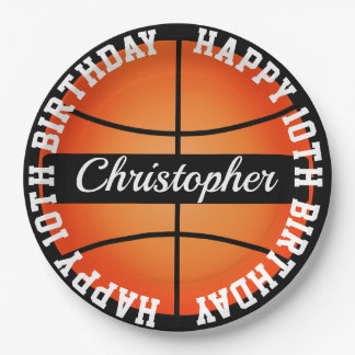 Basketball Personalized Birthday Paper Plate