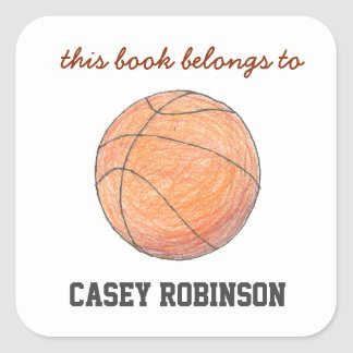 Basketball personalized bookplates for kids square sticker