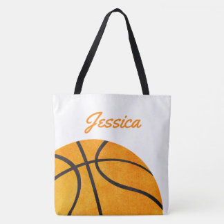 Basketball Personalized Orange Girls Kids Trendy Tote Bag