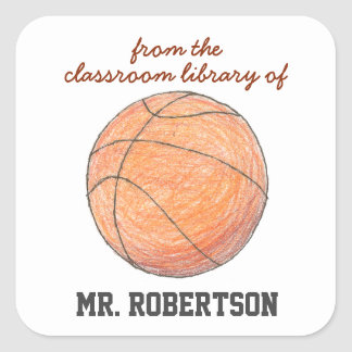 Basketball personalized teacher gift bookplate square sticker