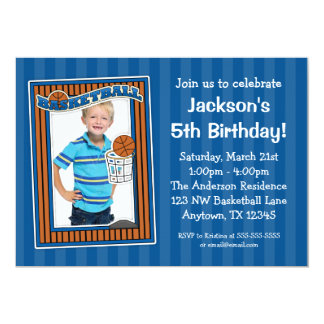 Basketball Photo Birthday Party Blue Invitations