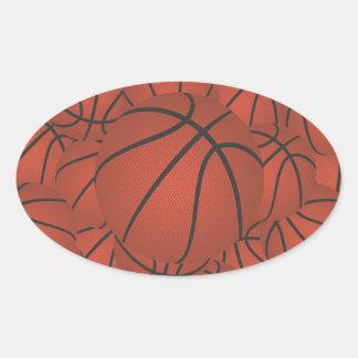 basketball pile oval sticker