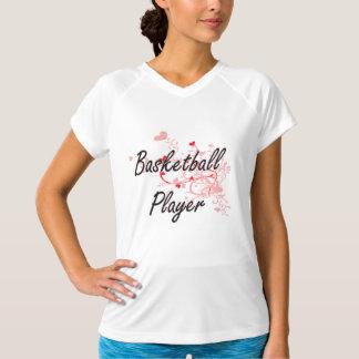 Basketball Player Artistic Job Design with Hearts T-shirt