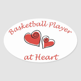 Basketball Player at Heart Oval Sticker