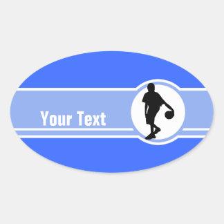 Basketball Player; Blue Oval Sticker