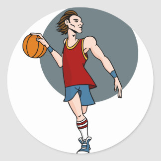Basketball Player Cartoon Character Classic Round Sticker