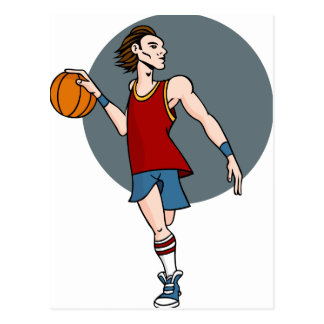 Basketball Player Cartoon Character Postcard