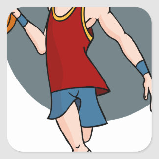 Basketball Player Cartoon Character Square Sticker