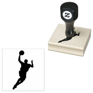 Basketball Player Design Wooden Stamp
