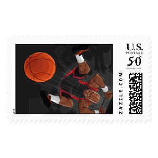 Basketball Player Doing Slam Dunk Postage